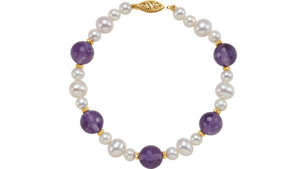 "14K Yellow Gold Freshwater Cultured Pearl & Amethyst 7.5"" Bracelet - THE LUSTRO HUT"