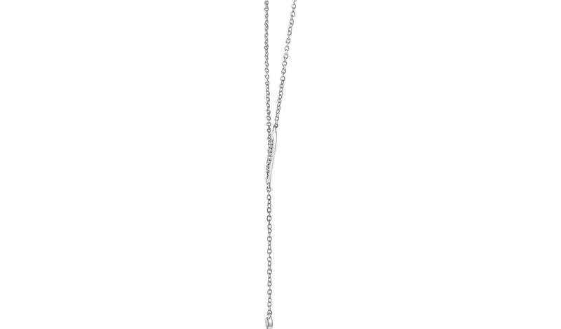 "14K White 1/10 CTW Diamond Y 16-18"" Necklace"