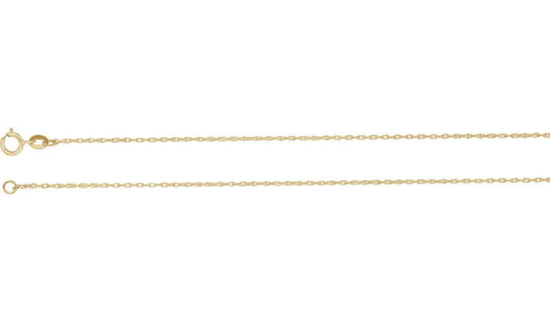 "14K Yellow Gold Filled 1 mm Solid Rope 18"" Chain"
