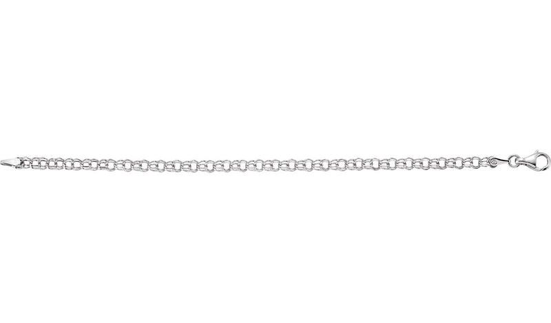 "14K White 3.75 mm Solid 7"" Charm Bracelet"