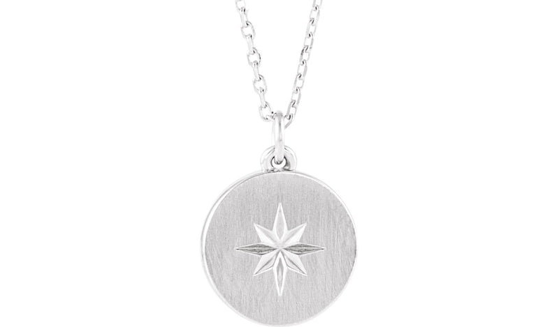 "Sterling Silver Starburst Disc 16-18"" Necklace"