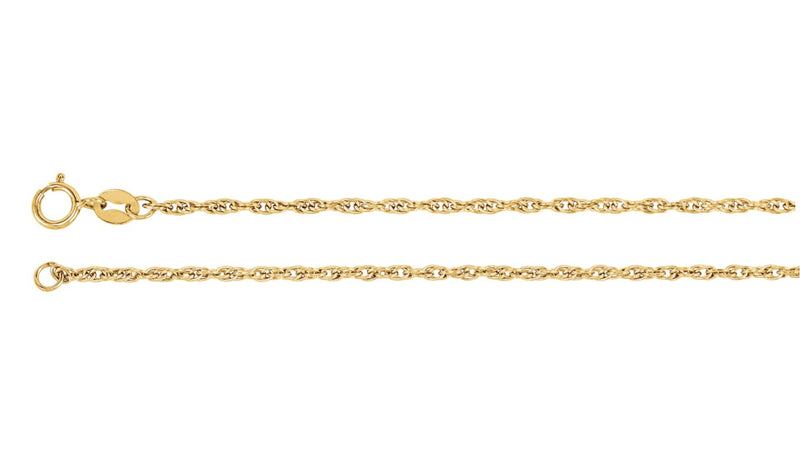 "14K Yellow 1.75 mm Solid Rope 7"" Chain"