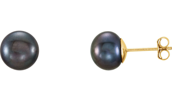 14K Yellow 7-8 mm Black Freshwater Cultured Pearl l Earrings