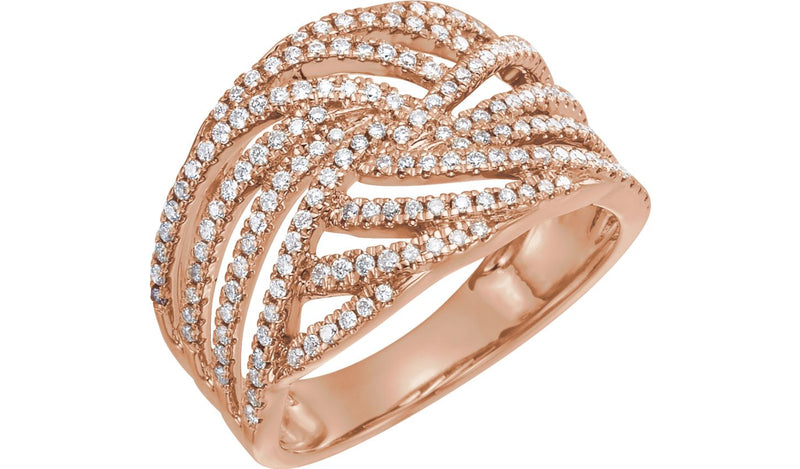 14K Rose 1/2 CTW Diamond Accented Criss-Cross Ring