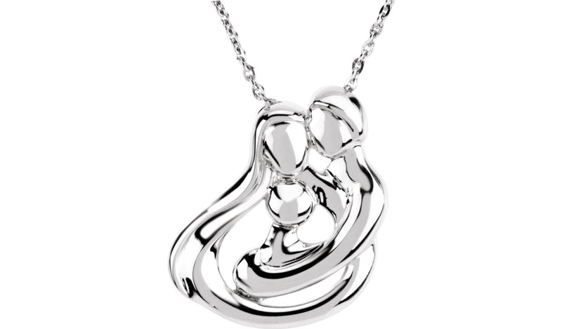 "Sterling Silver 1 Child Family 18"" Necklace - THE LUSTRO HUT"