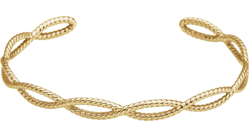 14K Yellow Gold Rope Cuff Bracelet
