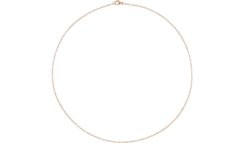 "14K Rose 1.6 mm Knurled Figaro 20"" Chain with Lobster Clasp"