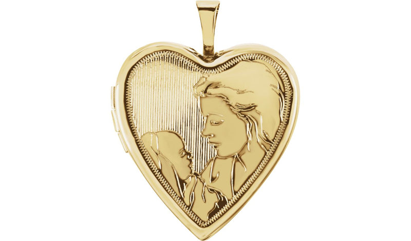 14K Yellow 20.75x19.25 mm Child & Mother Heart Locket - THE LUSTRO HUT