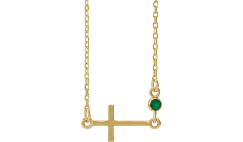 "14K Yellow Emerald Sideways Cross 16-18"" Necklace - THE LUSTRO HUT"