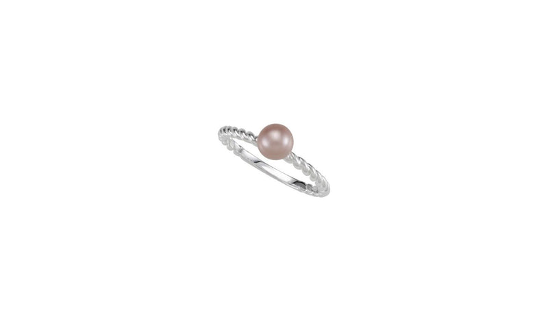 Sterling Silver Rope Ring for Pearl Size 7