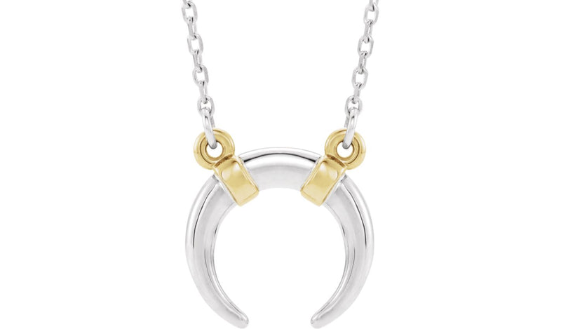 "14K White & Yellow Crescent 18"" Necklace"