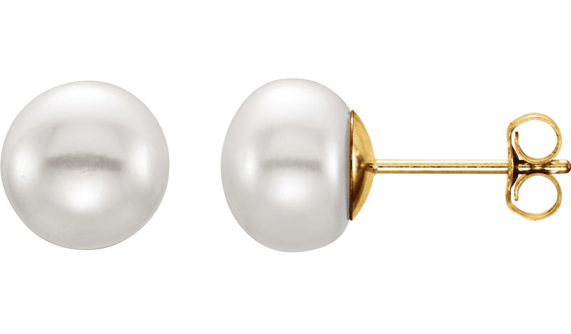 14K Yellow 7-8 mm White Freshwater Cultured Pearl Earrings