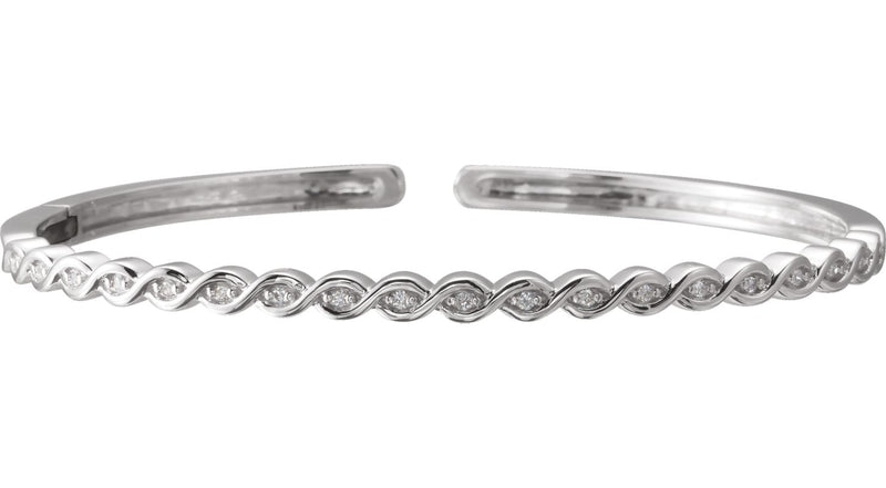 14K White Gold 1/6 CTW Diamond Stackable Bangle Bracelet