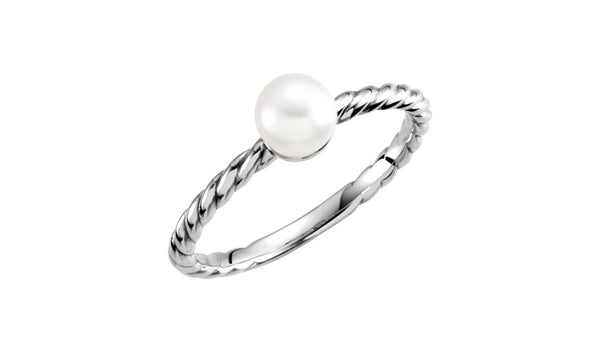 14K White 5.5-6 mm Freshwater Cultured Pearl Ring
