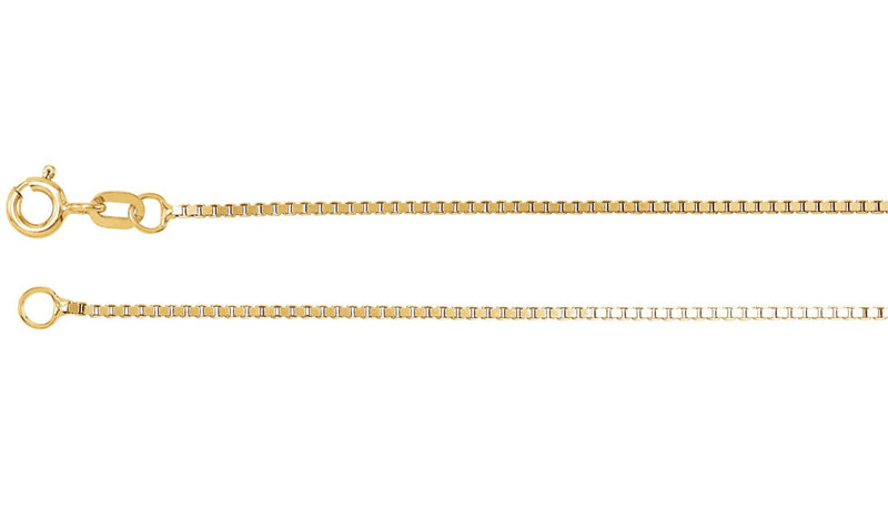 "14K Yellow 1.2 mm Solid Box 16"" Chain"