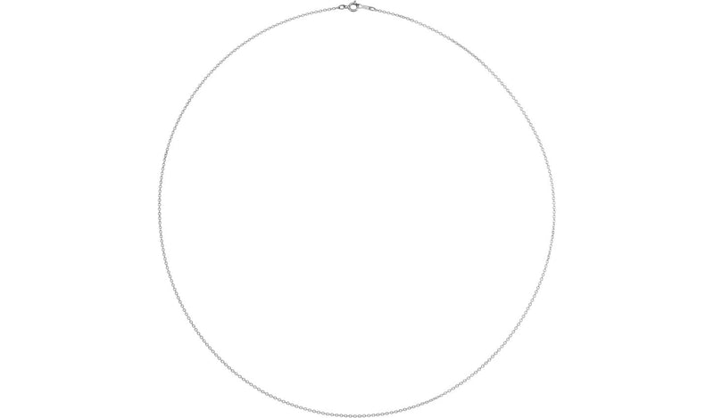 "10K White 1 mm Solid Cable 18"" Chain"