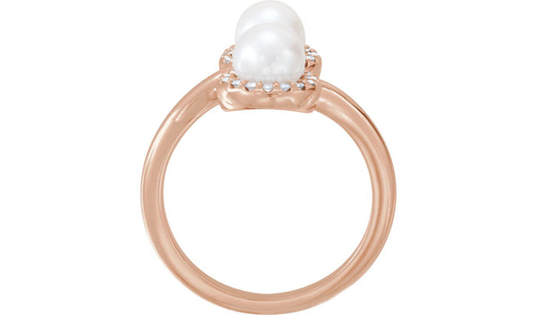 14K Rose Freshwater Cultured Pearl & 1/6 CTW Diamond Ring