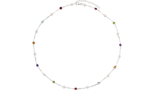 "Sterling Silver Freshwater Cultured Pearl & Multi-Gemstone 18"" Necklace"