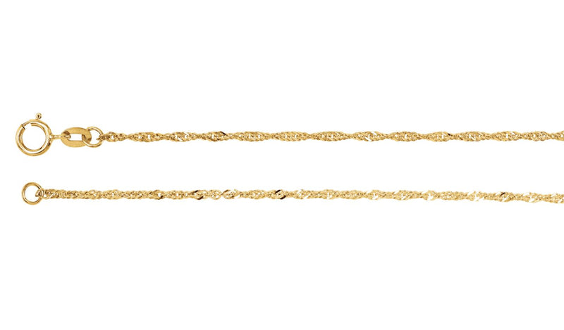 "14K Yellow 1.25 mm Solid Singapore 20"" Chain"