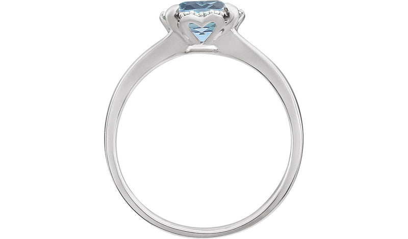 14K White Sky Blue Topaz & .05 CTW Diamond Ring