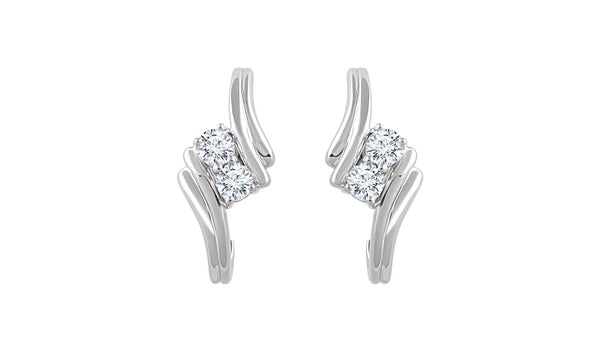 14K White 3/8 CTW Diamond Two-Stone Earrings