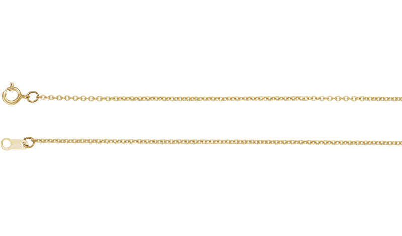 "10K Yellow 1 mm Solid Cable 20"" Chain"