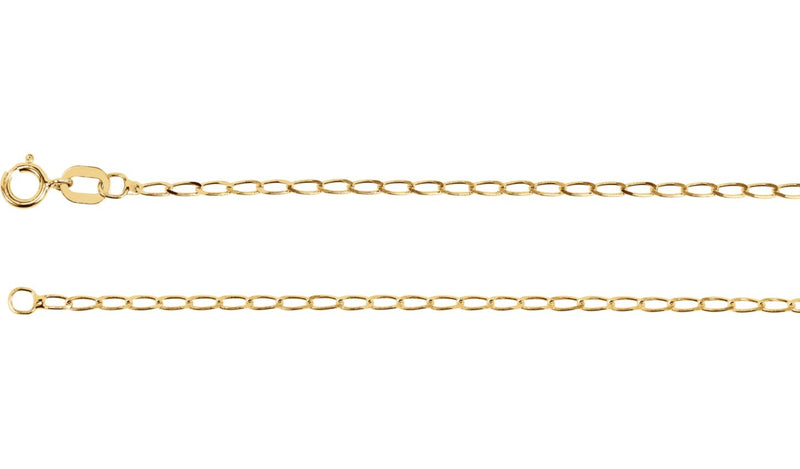 "14K Yellow 1.25 mm Solid Curb Chain 18"" Chain"