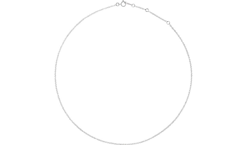 "18K White 1.3 mm Adjustable Cable 16-18"" Chain"