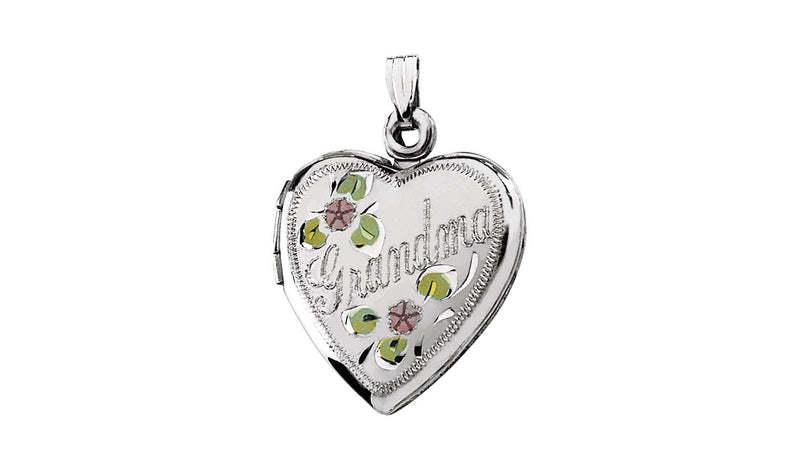 Sterling Silver Grandma Heart Shape Locket