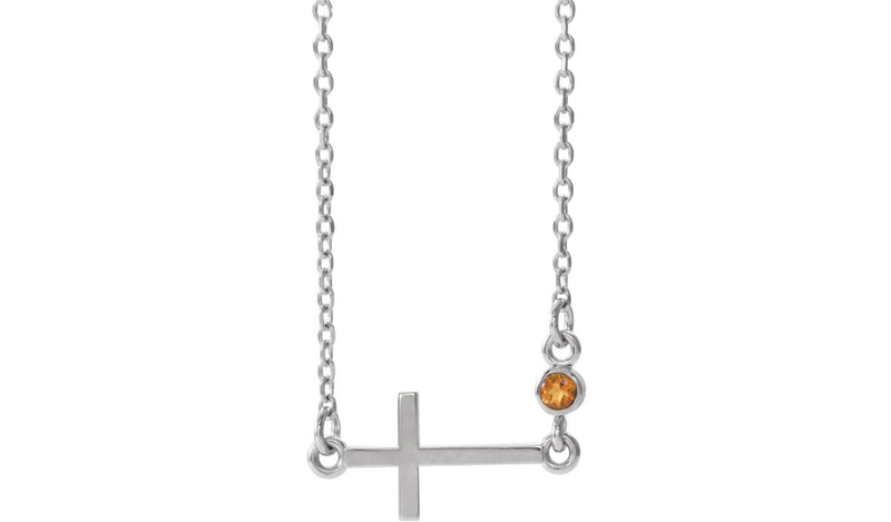 "14K White Citrine Sideways Accented Cross 16-18"" Necklace"