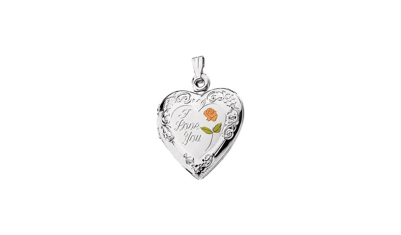 "Sterling Silver 27.5x19.25 mm Enameled Roses ""I Love You"" Heart Locket"