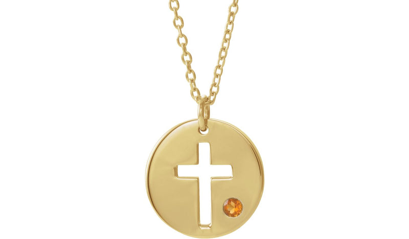 "14K Yellow Citrine Pierced Cross Disc 16-18"" Necklace"