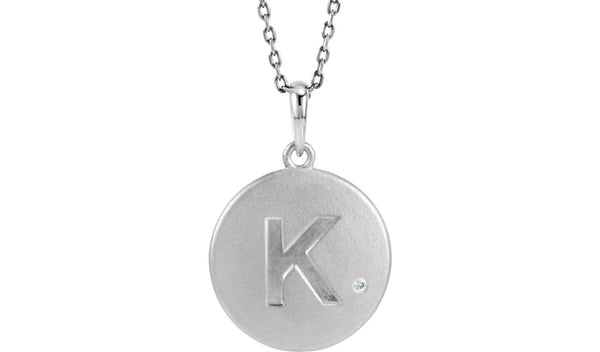 "Sterling Silver .005 CTW Diamond Letter ""K"" Initial Disc 18"" Necklace"