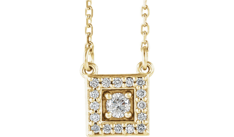 "14K Yellow 1/8 CTW Diamond Halo-Style Square 16-18"" Necklace"