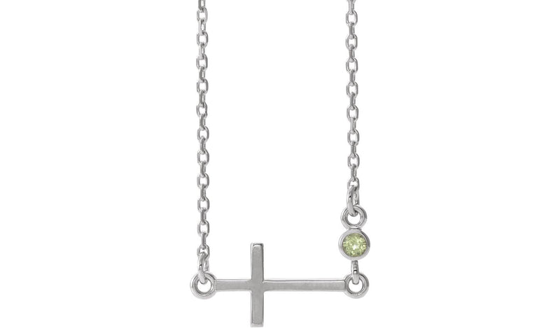 "14K White Peridot Sideways Accented Cross 16-18"" Necklace"