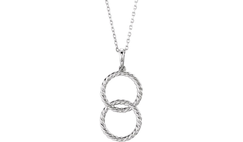 "Sterling Silver Interlocking Circle 16-18"" Necklace"