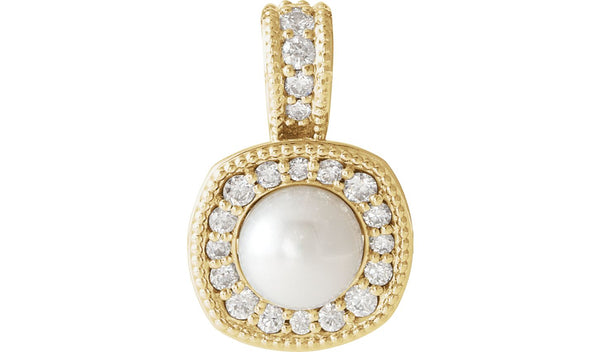 14K Yellow White Freshwater Cultured Pearl & 1/4 CTW Diamond Pendant - THE LUSTRO HUT