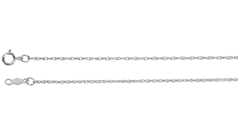 "14K White 1 mm Rope 20"" Chain"