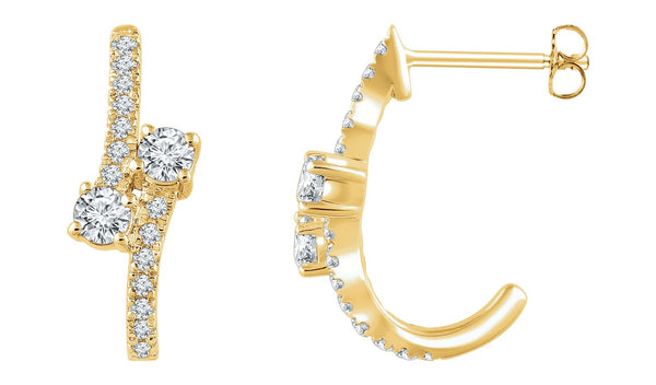 14K Yellow 5/8 CTW Diamond Two-Stone Earrings