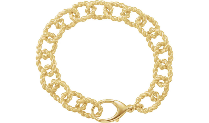 10.75 mm Sterling Silver Gold Plated Link Bracelet