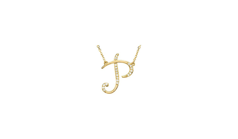 "14K Yellow Letter ""P"" 1/10 CTW Diamond Initial 17"" Necklace"