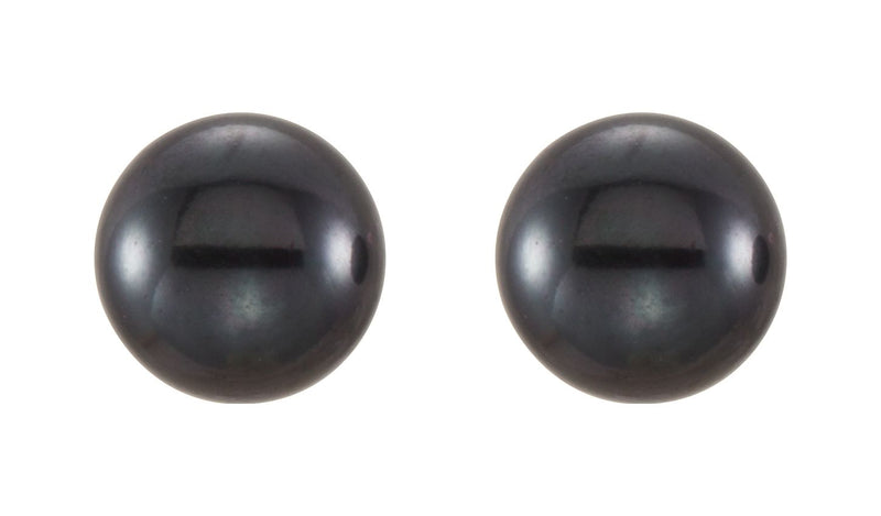 14K Yellow 5-6 mm Black Freshwater Cultured Pearl Earrings