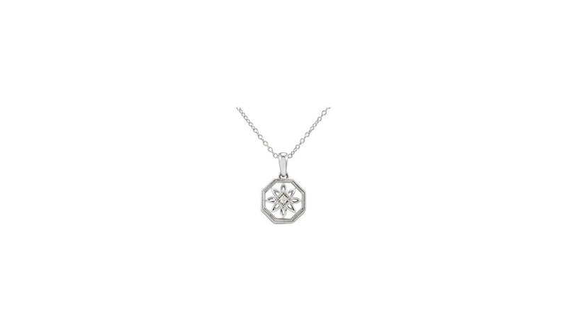 "Sterling Silver .02 CT Diamond 18"" Necklace"
