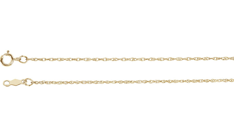 "14K Yellow 1 mm Rope 20"" Chain"
