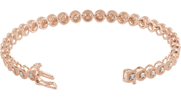 "14K Rose Gold 1 CTW Diamond 7"" Bracelet"