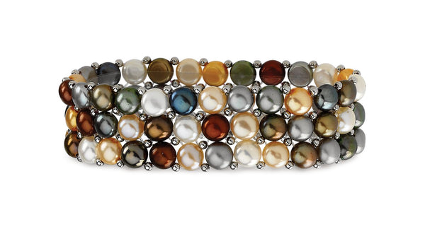 Sterling Silver Freshwater Cultured Multi-Colored Pearl 3 Row Stretch Bracelet - THE LUSTRO HUT