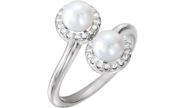 14K White Freshwater Cultured Pearl & 1/6 CTW Diamond Ring