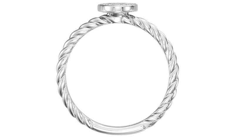 14K White 1/6 CTW Diamond Rope Cluster Ring