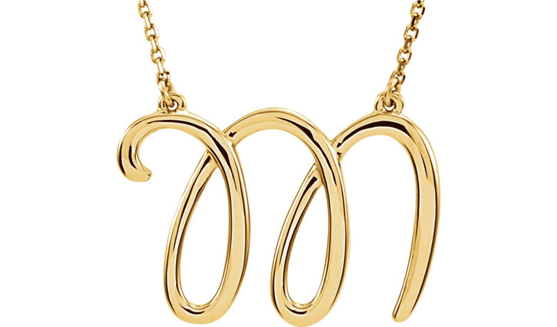 "14K Yellow ""M"" Script Initial 16"" Necklace"