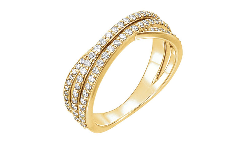 14K Yellow 1/2 CTW Diamond Criss Cross Ring - THE LUSTRO HUT